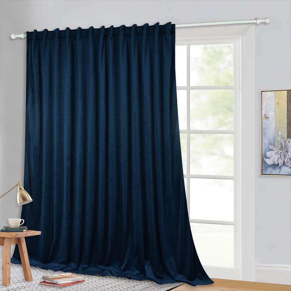StangH Navy Blue Velvet Curtains - Blackout Thermal Insulated Backdrop Curtains Privacy Room Divider Curtain Drapes for Media / Home Office / Movie Room, W100 x L84, 1 Panel