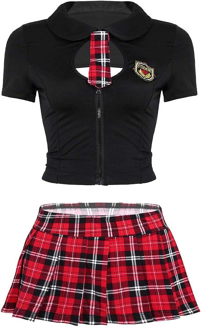 iixpin Uniforme Escolar para Mujer Disfraz Colegiala Estudiante ...