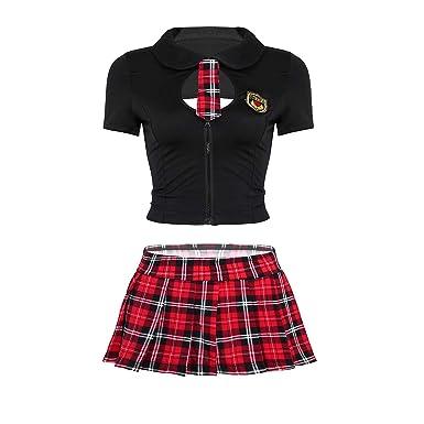 Agoky Disfraz de Escolar para Mujer Cosplay Conjunto de Lencería ...