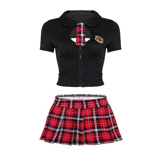 IEFIEL Disfraz Colegiala Sexy Mujer Uniforme Escolar Camiseta ...