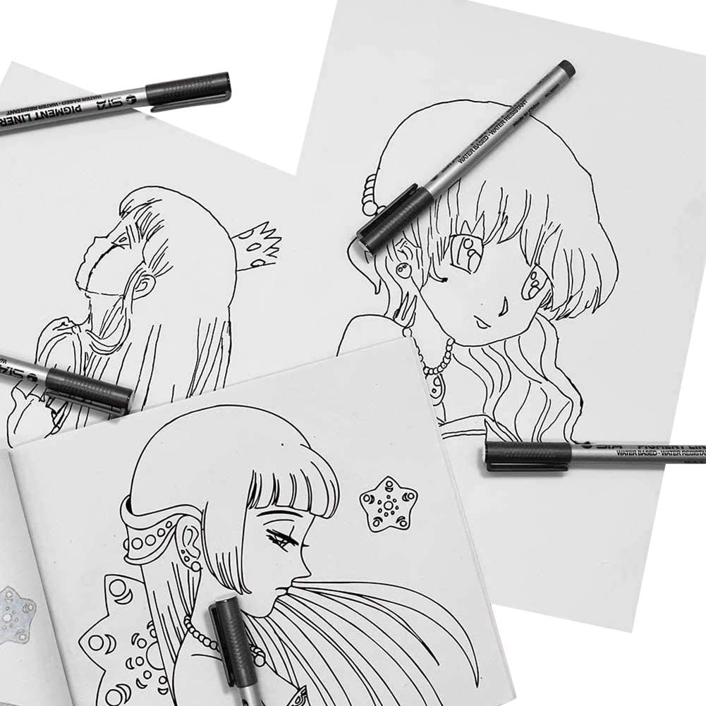 Anime Illustration Comic Manga Writing Comic Gyrategirl Black Pigment Ink Pens Waterproof Drawing Pen for for Sketching Manga