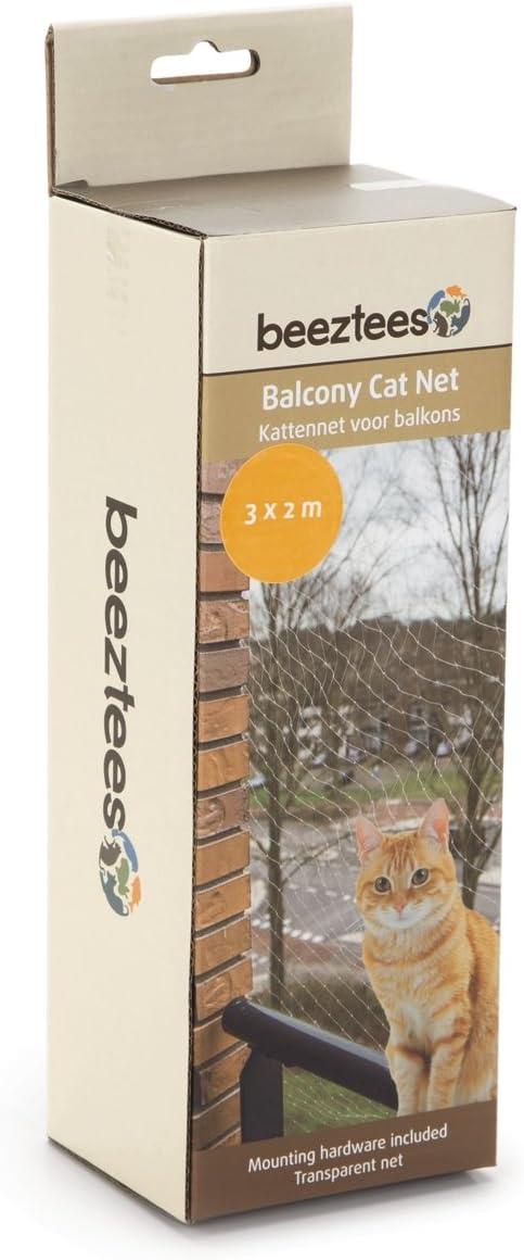 Red de protección para gatos para balcones de Beeztees. Completa, transparente, malla de tamaño 3 x 3 cm. Incluye material de fijación: Amazon.es: Productos para mascotas