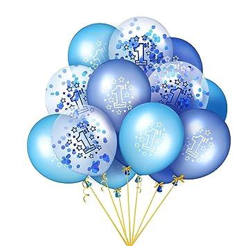 EKKONG Globo Cumpleaños 1 año, 15 Piezas Globos de Cumpleaños con Confeti, 12 Pulgadas Globos Helio de Látex, para Decoración de 1er Cumpleaños de ...