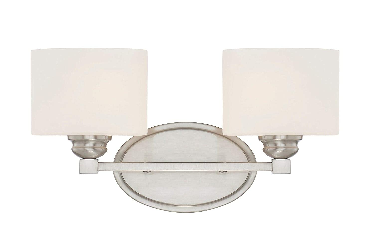 Savoy House 8-890-2-SN Kane 2-Light Bathroom Vanity Light in a Satin Nickel Finish with White Etched Glass 16 W x 8.5 H