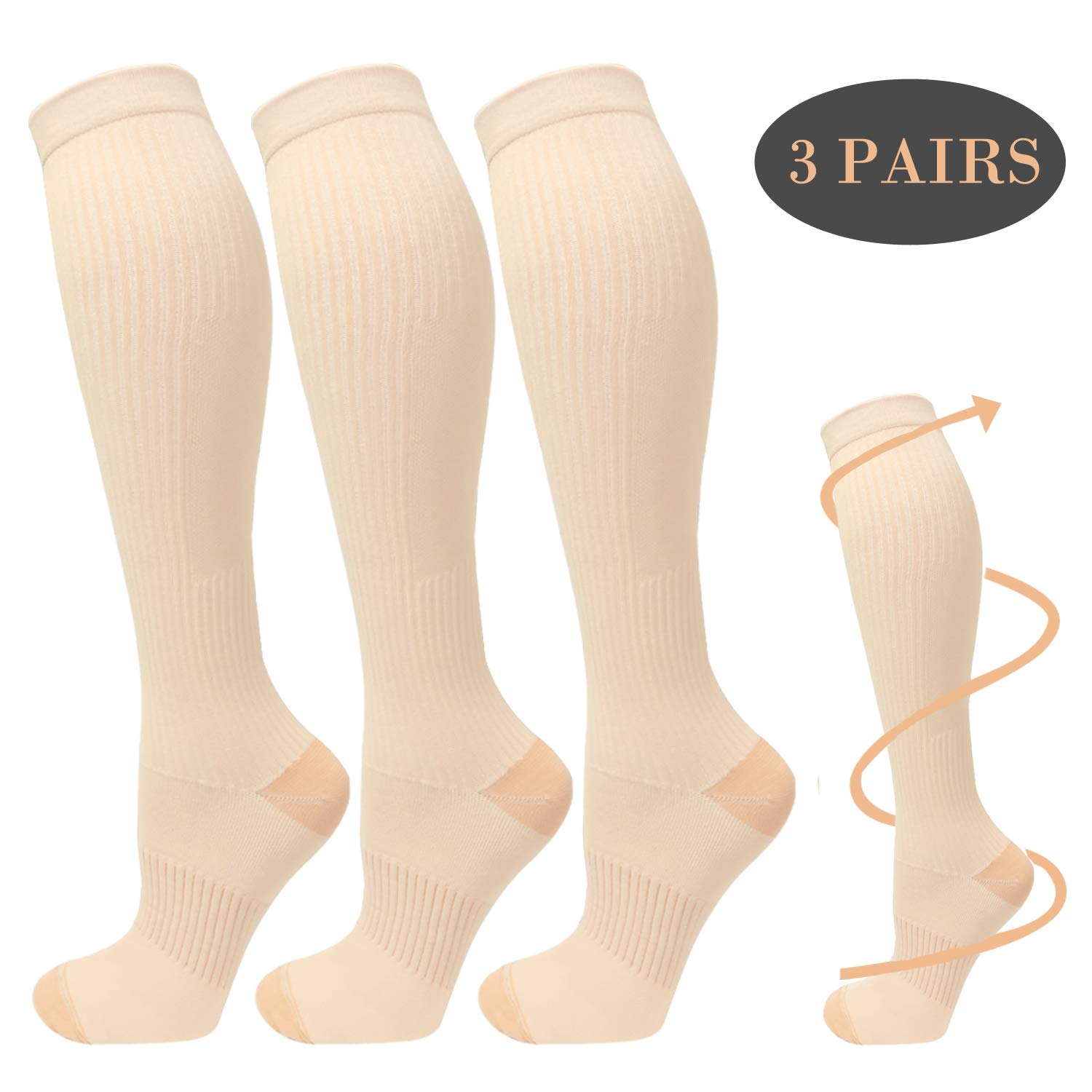 Copper Compression Socks For Men&Women -3 Pairs - Best Recovery Support Socks For Running,Athletic,Medical,Pregnancy and Travel -15-20mmHg (Nude, L/XL)
