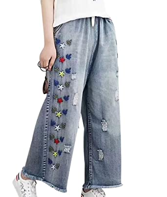 eaa44906e46 YESNO Women Casual Cropped Pants Loose Floral Jeans Ripped Embroidered Wide  Leg/Pockets PKG