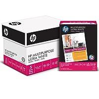 HP Printer Paper, Multipurpose20, 8.5 x 11, Letter, 20lb, 96 Bright, 2,500 Sheets / 5 Ream Carton (212500C) Made In The USA