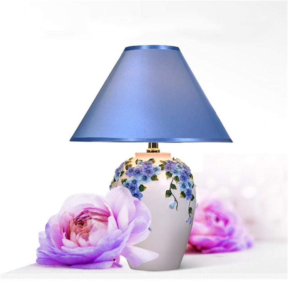 JU Desk Lamp New European Wedding Gift Warm Decorative Flower Happiness Table Lamp, Bedroom Bedside Table Lamp