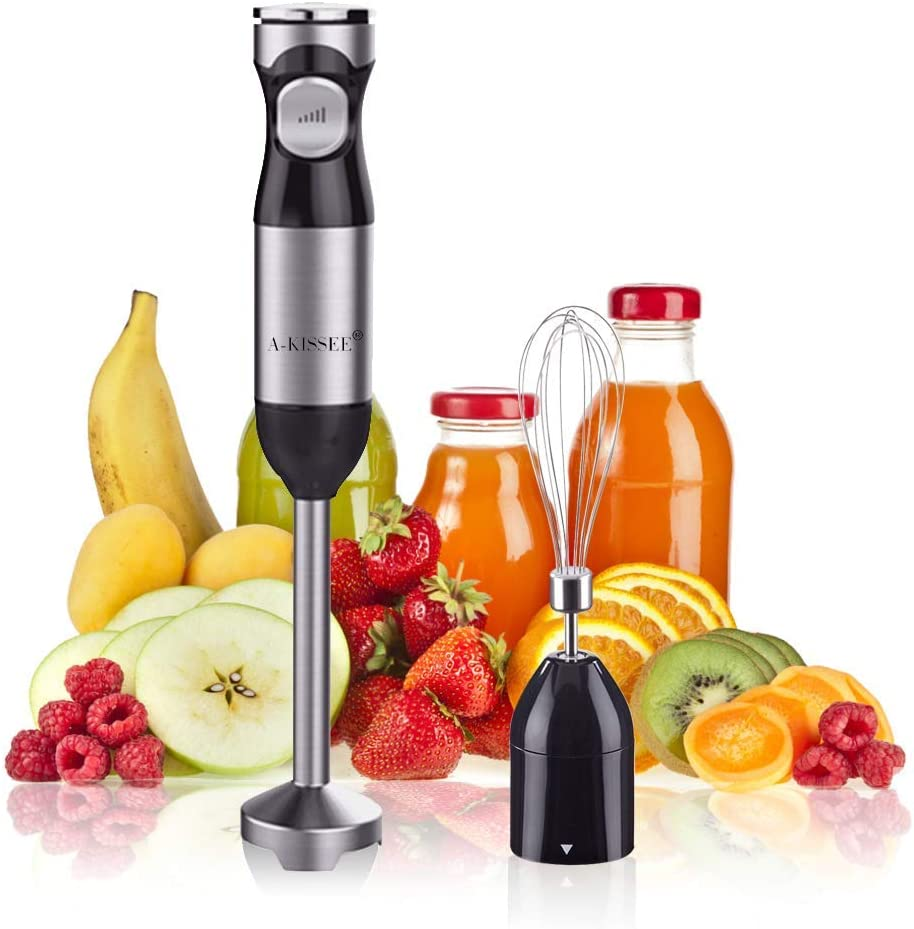 Hand Blender Mixer,Mini Electric Stick with Egg Whisk,Multi-Speed Control & Safety Child Lock For Baby Food,Fruits,Sauces and Soup (Renewed)