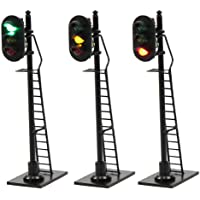 JTD878GYR 3PCS Model Railroad Train Signals 3-Lights Block Signal HO Scale 12V Green-Yellow-Red Traffic Lights Train…