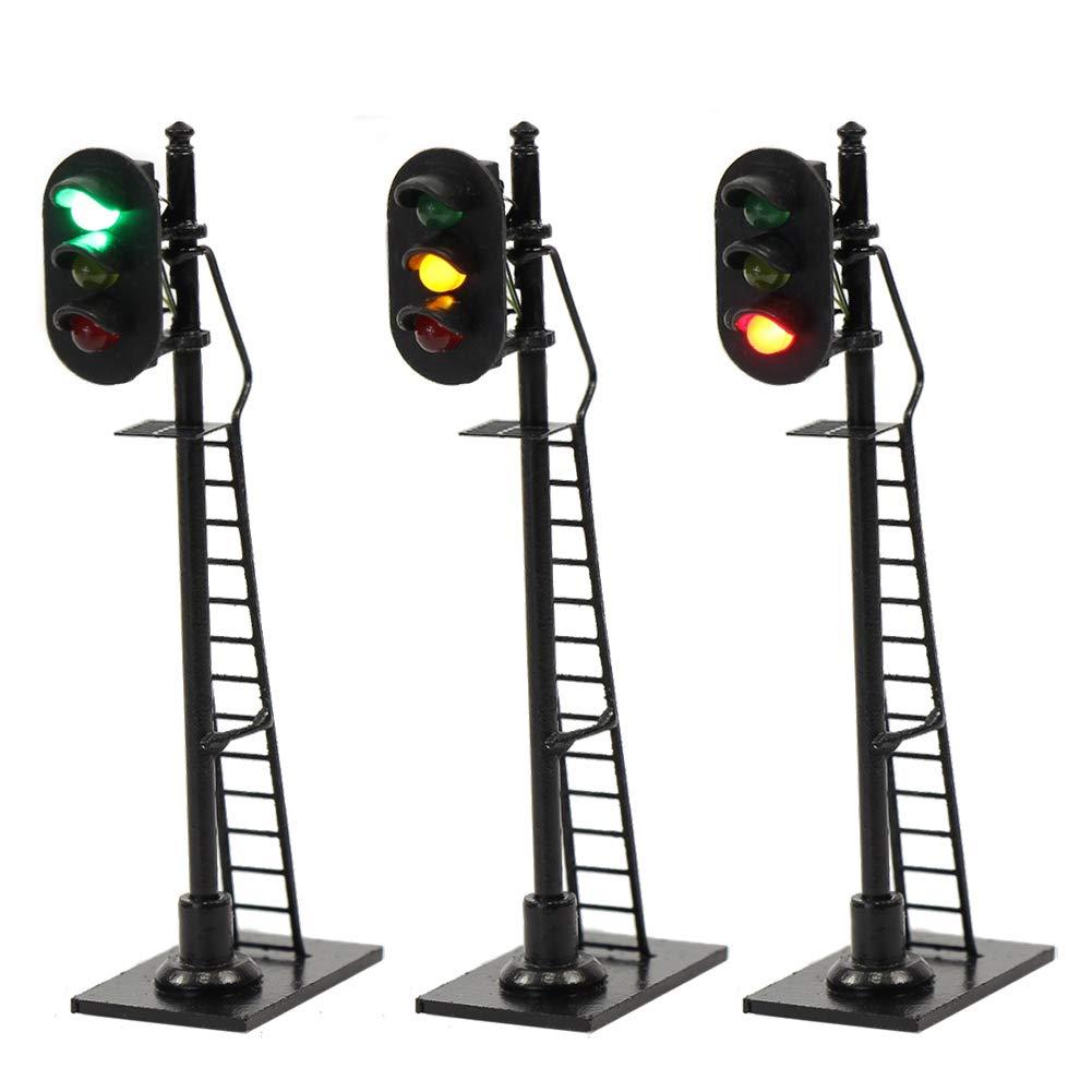 JTD878GYR 3PCS Model Railroad Train Signals 3-Lights Block Signal HO Scale 12V Green-Yellow-Red Traffic lights for Train Layout New