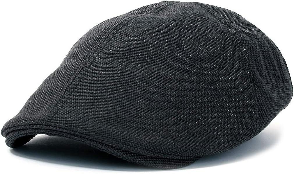 ililily Linen-Like Flat Cap Cabbie Sombrero Gatsby Ivy Irish Caza Stretch Newsboy