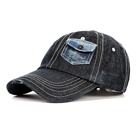 Idopy Vintage Washing Vintage Denim Baseball Cap Snapback with Pocket Deco  Black 0644ac312d0