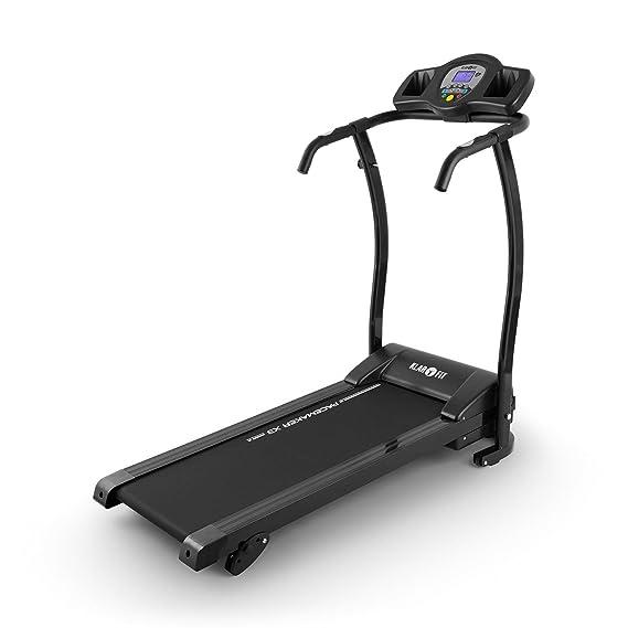 Klarfit Pacemaker X3 - Tapis de Course Pliant, Home Trainer, 1,5 ch, 0,8-12 km/h, Cardiofréquence mètre, LCD, 12 programmes, Capteur de pouls, Inclinaison : 3, 5 ou 7%