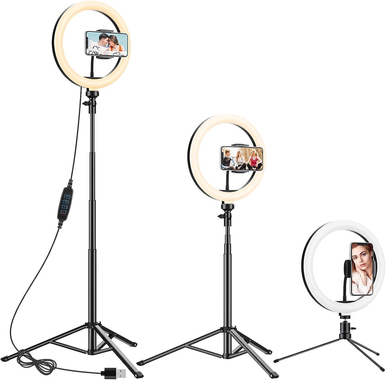 Anozer 10.2'' LED Anillo de luz con Trípode Metal de Escritorio y 57.1'' Trípode Largo Alternativo&Soporte Teléfono, luz de 3 Modo y 10 Brillo para Transmisión en Vivo/Youtube Video/Tiktok/Maquill