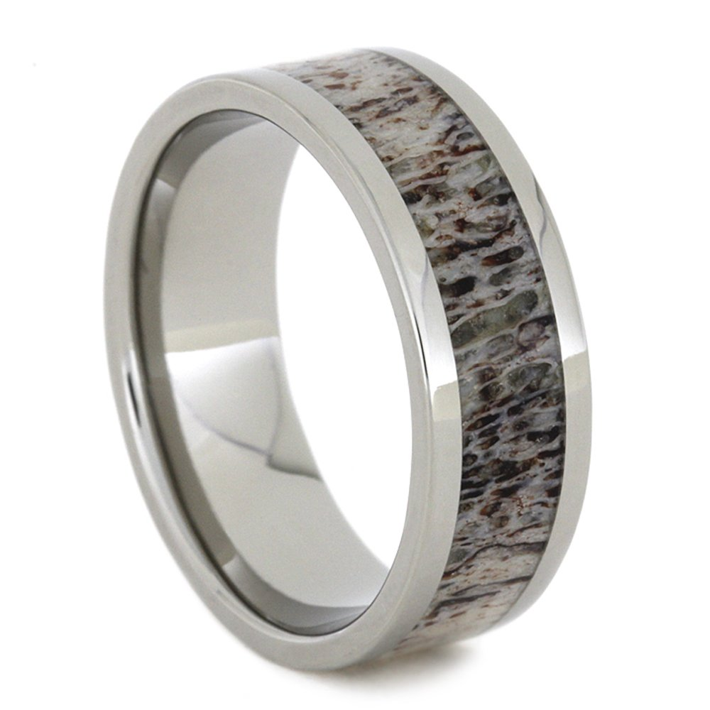 Deer Antler Inlay 8mm Comfort-Fit Titanium Band, Size 16 by The Men's Jewelry Store (Unisex Jewelry)