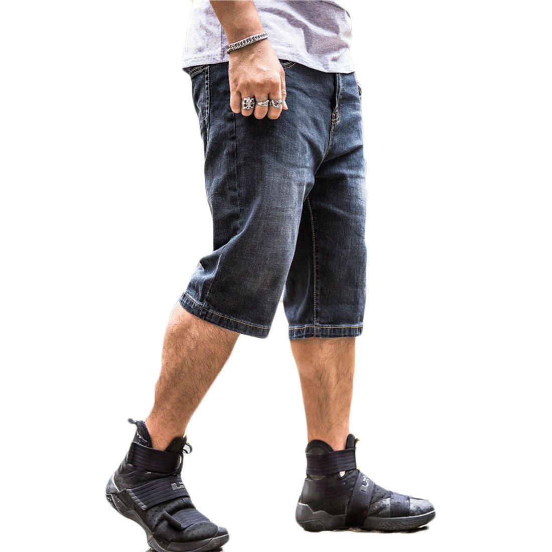 Jotebriyo Men Loose Stretchy Cropped Casual Cargo Tall and Big Denim Shorts Jeans