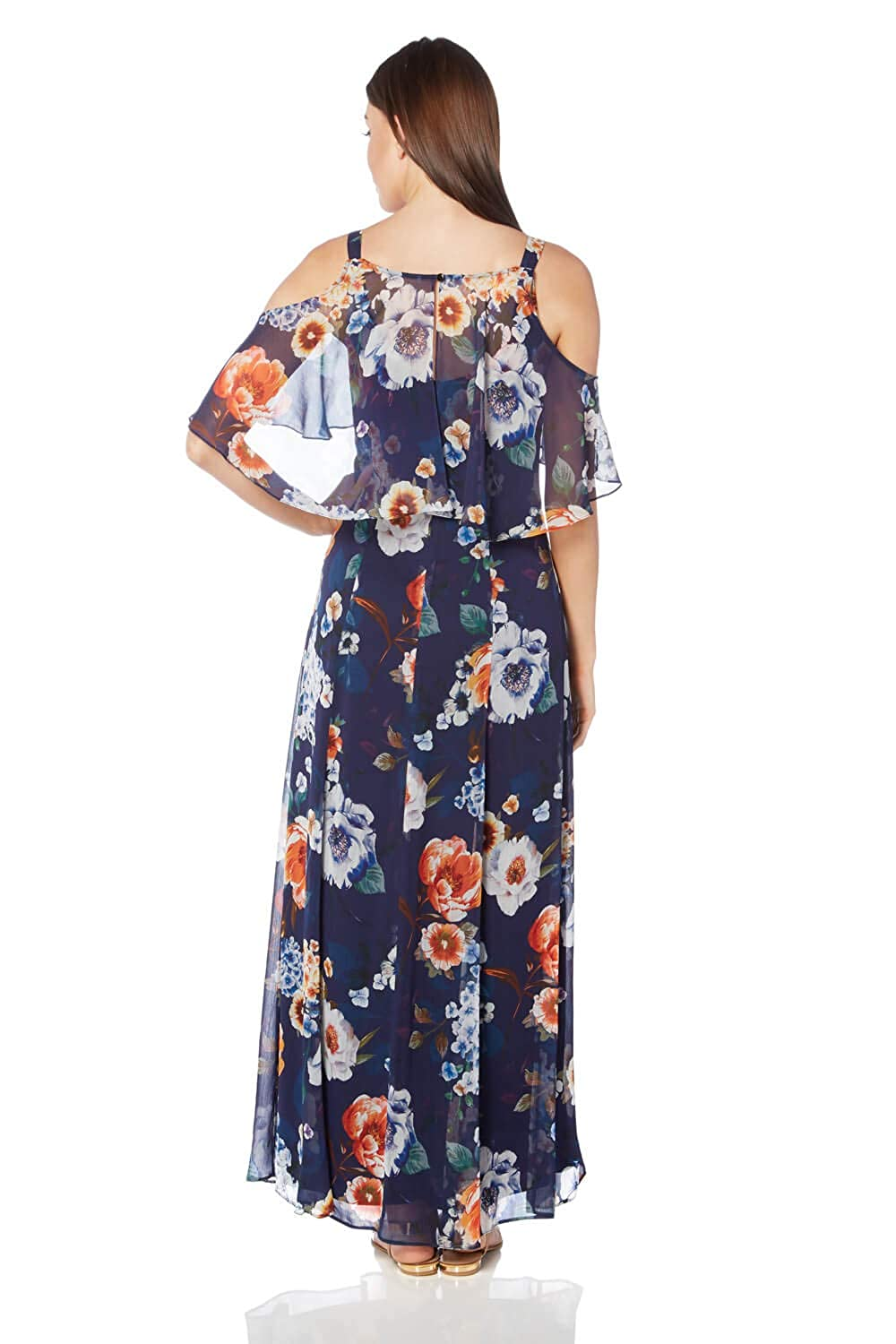 0af2093fbf99a Roman Originals Women Floral Cold Shoulder Chiffon Maxi Dress - Ladies  Chiffon Long Wedding Guest Holiday Cruise Occasion Summer Ascot Races Party  Outfits ...