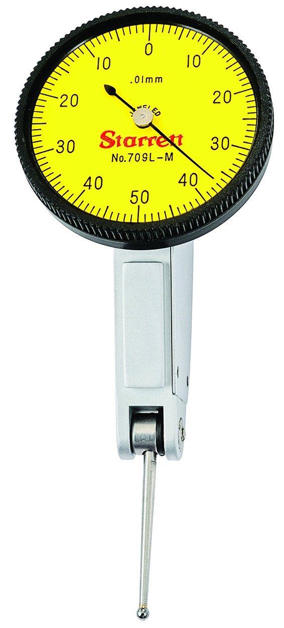 Starrett 711MFSZ Last Word Dial Test Indicator with Attachments White Dial 0.01mm Graduation 0-35-0 Reading 0-0.7mm Range