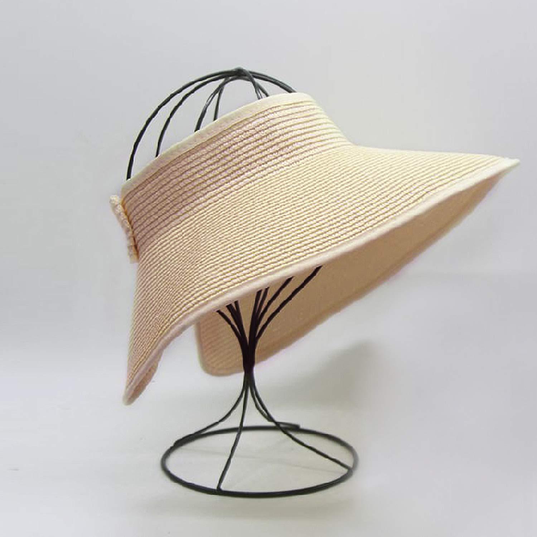 Roll Up Beach Straw Hat with Cute Bowtie Womens Summer Foldable Wide Brim Sun Visor
