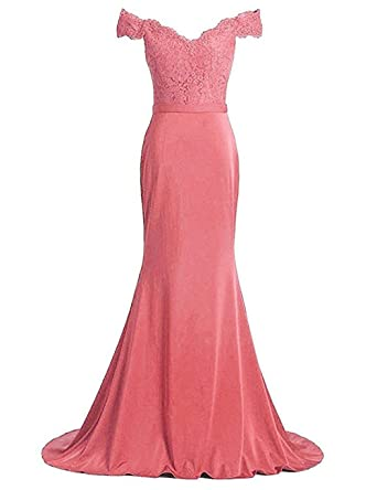 YSMei Womens Long Mermaid Evening Prom Dress Lace Off Shoulder Formal Party Gown Coral 2