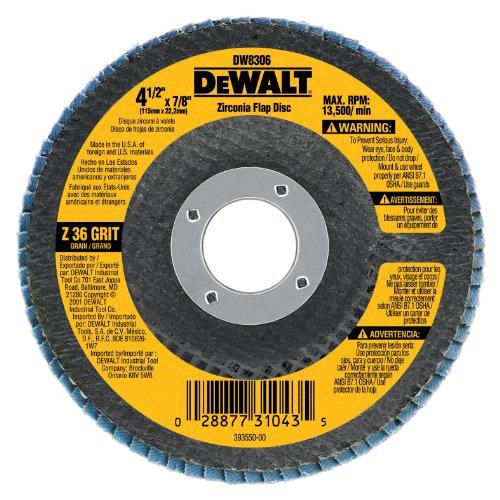 DEWALT DW8313 4-1/2-Inch by 5/8-Inch-11 80 Grit Zirconia Angle Grinder Flap Disc