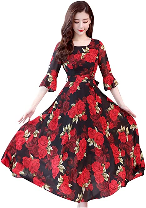 LEXUPA Women Vintage Bodycon Sleeveless O Neck Evening Printing Party Prom Swing Dress