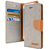 iPhone 8 Case & iPhone 7 Case, [Drop Protection] GOOSPERY Canvas Diary [Denim Material] Wallet Case [ID Card Cash Slot] w/ Stand Flip Diary Cover TPU Casing for Apple iPhone 8 & 7, Gray & Tan Brown