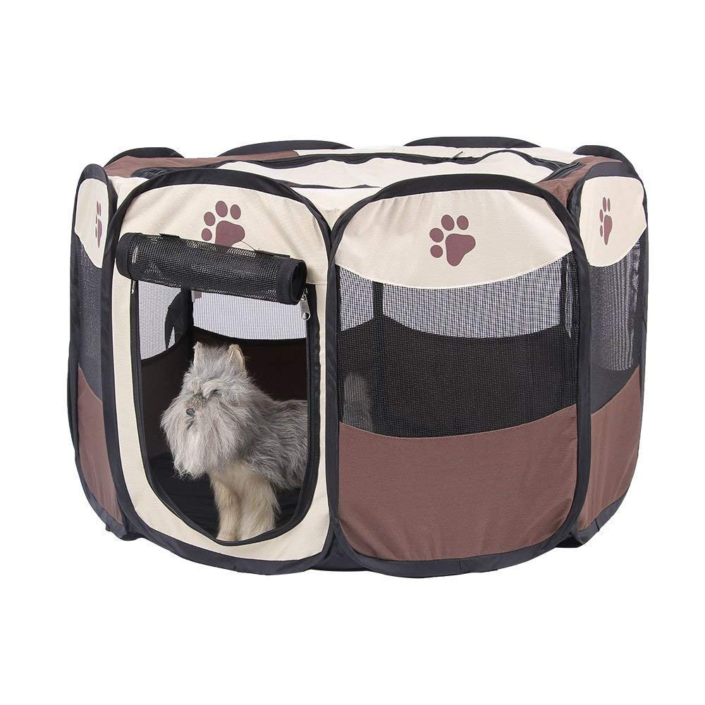 Wmchiwan Mascotapara Gato Perro AZ Portable Pet Playpen 8 Panel Plegable Puppy Dog Play Pen Crate Cage for Cat Rabbit Pig Pet Play Tent Kennel Mascotapara Gato Perro Color : Red, Size : M
