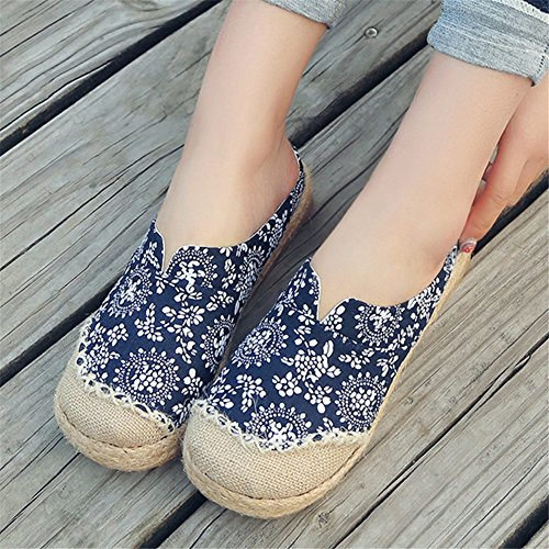 HUAN Pantofole Oxford Shoes Flat Bottom Lino da Loafers B Espadrilles Donna Canvas rrgUaqd