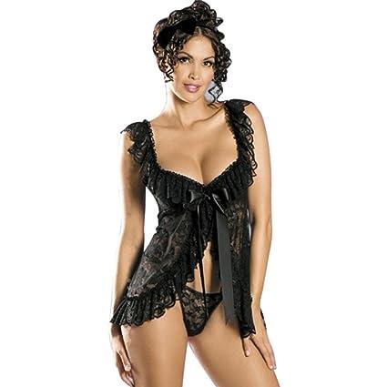 Lencería Mujer Ropa interior sexy Babydoll Ropa de dormir Vestido de encaje Juego de G-