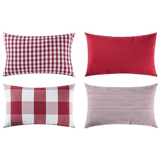 MIULEE 4pc Almohadas a Cuadros Conjunto Funda Cojin Moderno Cuadros Jardin Cama Decoracion Funda de Almohada para Sofa Cojines 30