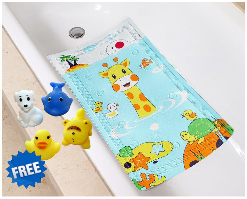 Littlefun Baby Non-Slip Bath Mat with Heat Sensitive Spot PVC Bathroom for Shower Bath Toys Included (Giraffe/Whale/Tortoise Pattern)
