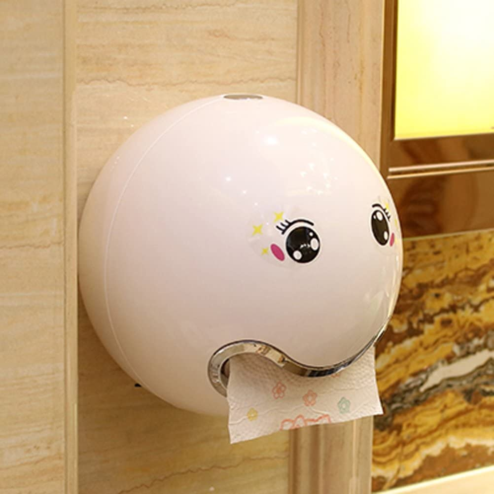 White Yardwe Wall-mounted Tissue Paper Holder Waterproof Bathroom Tissue Paper Container Paper Towel Dispenser