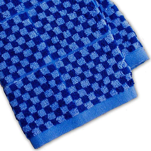 Cobalt Blue Bamboo - Murphy Bamboo 26.5-Inch-by-13-Inch Luxury Bamboo Kitchen Dish and Hand Towels, Blue and Cobalt Blue Plaid (Set of 2)
