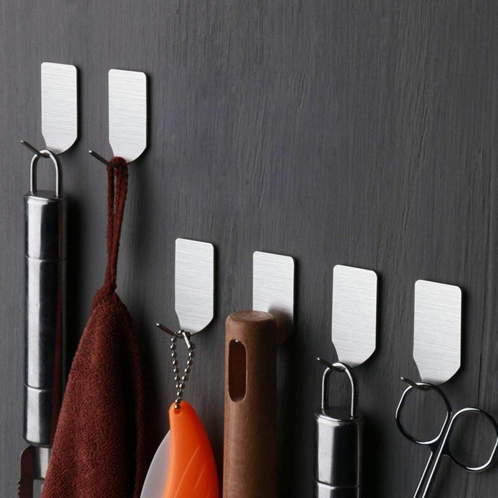 6PCS Self Adhesive Home Kitchen Wall Door Stainless Steel Holder Hook Hanger by Traceless Strong Adhesive Hook (Image #1)