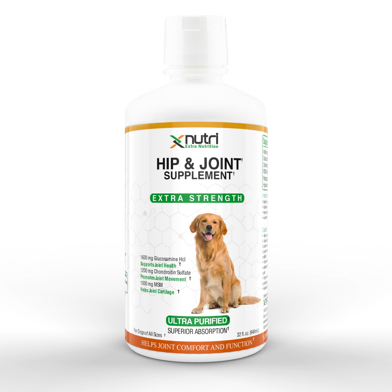 XNutri - Hip & Joint Supplement - For Dogs of All Sizes - Premium Liquid Glucosamine with Chondroitin, MSM and Hyaluronic Acid - 32 fl. oz (946 ml)