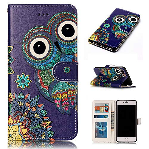 iPhone 7 Plus Case, iPhone 8 Plus Wallet Case, Voanice Card Holder ID Slot with Kickstand PU Leather Wallet Case Flip Folio Cover Shockproof Protective for Apple iPhone 7 Plus/iPhone 8 Plus&Stylus-Owl