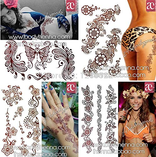 Henna Stencils 3pcs Mixed Henna Designs Temporary Tattoo Sticker Waterproof Body Painting arm Leg Neck Sexy Women Party Body Art