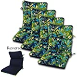 SET OF 4 22W x 44L x 5H Hinge at 24'' Spun Polyester Outdoor CHANNELED REVERSIBLE CHAIR CUSHION in Seabreeze Lagoon-Solid Navy by Comfort Classics Inc.