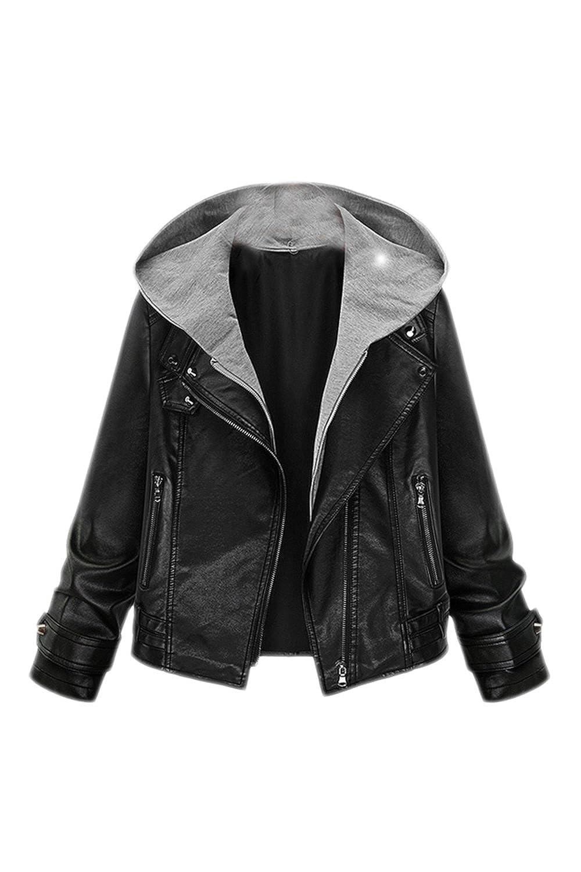 Women Casual PU Leather Biking Hooded Blazer Jacket Outcoat Plus Size CAFZ1200
