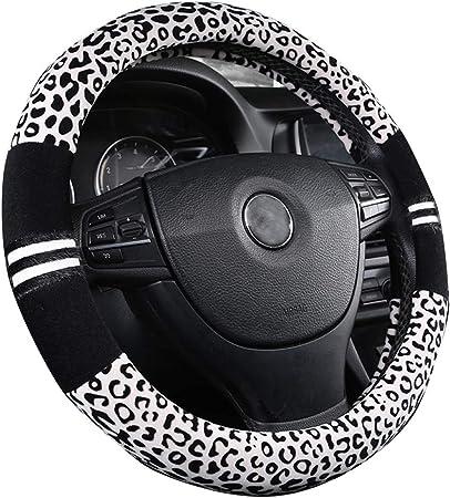 Weiche Leopard Auto Warme Lenkradabdeckung Handbremsgriff Gangschaltung Plüsch Für Frauen Im Winter Weiß Auto