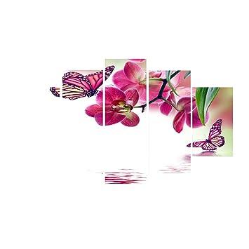 MagiDeal 5pcs Tableaux Peinture Séparés Impression Sur Toile Sans Cadre Décoration  Mural Du0027Hôtel Hall
