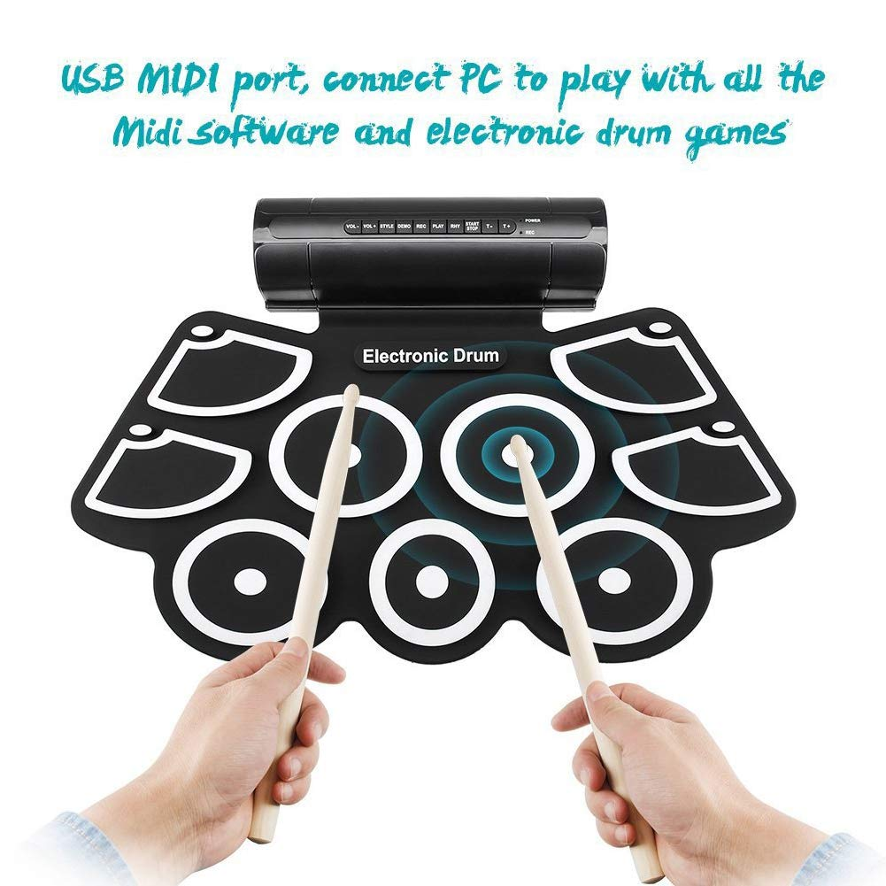 XuBa Tragbares elektronisches Schlagzeug zum Aufrollen, faltbar, mit USB-Kabel-Fußpedalen