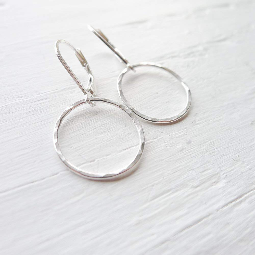 Camilee Designs Hammered Circle Leverback Earrings in Sterling Silver