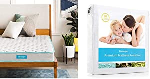 Linenspa 6-Inch Innerspring Mattress - Full & LS0PFFMP Premium Smooth Fabric Mattress Protector-100% Waterproof-Hypoallergenic-Vinyl Free Protector, Full, White