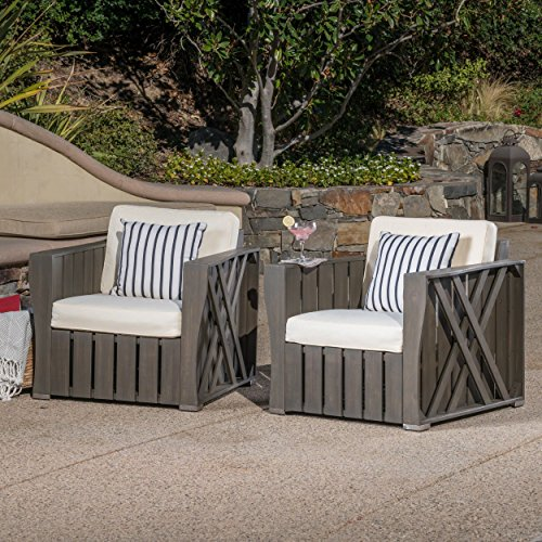 Edward Club Chair (Edward Outdoor Grey Finished Acacia Wood Club Chairs with Grey Water Resistant Cushions (Set of 2))