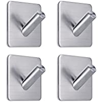 3M Hooks, Adhesive Strong Wall Hooks Hanger Garage Storage Organizer Stick On Sticky Bathroom Kitchen for Drywall, Living Room, Bedroom, Umbrellas, Scarves, Towels, Robes, Bags, Coats, Keys - 4 Packs by Eisonlife