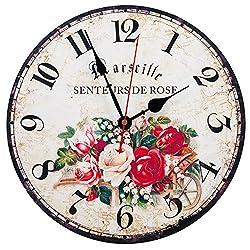 KI Store Silent Wall Clocks Non Ticking Large Round Vintage Rustic Decorative World Clock Ultra-thin(12 Marseille Rose)