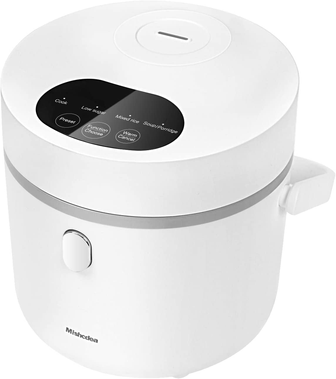 Mishcdea Small Rice Cooker, Low Sugar Rice Cooker, Personal Size Cooker for 1-2 People, Multi Food Steamer, 24 Hours Preset, Portable Rice Cooker 3 Cups (Uncooked), White